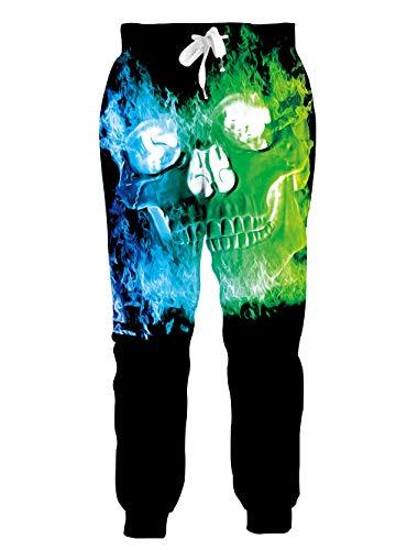 chicolife Pantaloni da Jogger da Uomo Pantaloni da Tuta con Grafica 3D Teschio Verde Abbigliamento Sportivo Pantaloni da Atletica Pantaloni a Vita Bassa da Corsa Pantaloni da Allenamento