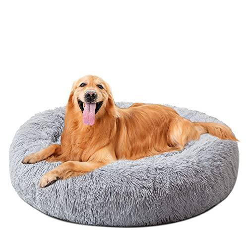 DanceWhale Redonda Cama Perro Gato Cama Cama de Felpa para Mascota Lavable Sofa Suave Cachorro Calentito Cojín(100cm, Gris)