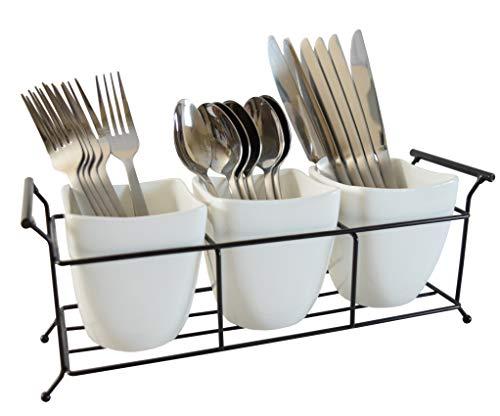 Silverware Caddy Utensil Holder Flatware Caddy White Ceramic Cutlery Organizer