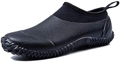 TENGTA Unisex Waterproof Garden Shoes Womens Rain Boots Mens Car Wash Footwear Black 9.5
