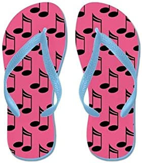 Cute Note Flip Flops for Kids Adult Beach Sandals Pool Shoes Party Slippers Black Pink Blue Belt for Chosen