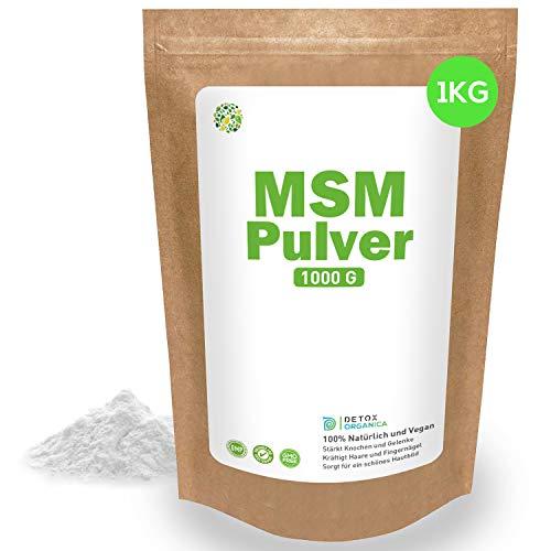 MSM Pulver 1000g Methylsulfonylmethan ● 99,9% rein ● In Deutschland hergestellt – Laborgeprüft ● 1Kg Organischer Schwefel ● Kristallines Pulver Premiumqualität von Detox Organica