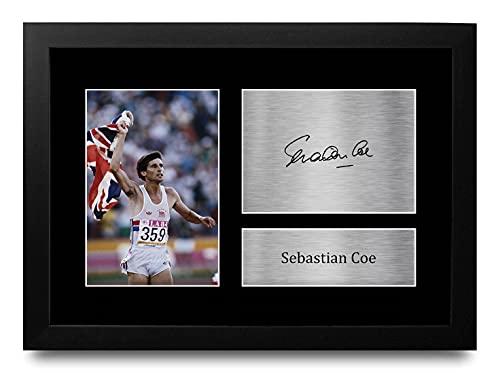 HWC Trading FR A4 Sebastian SEB Coe Team GB Los Regalos Imprimieron La Imagen Firmada del Autógrafo para Los Fans De Los Recuerdos del Deporte del Atletismo - A4 Framed