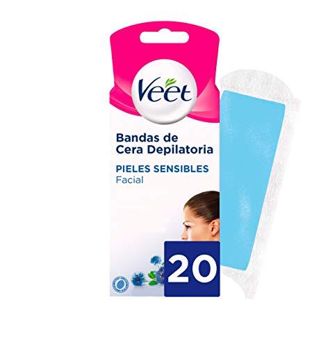 Veet Bandas de Cera Fría Facial Tecnología Easy Gelwax Pieles Sensibles - 20 bandas