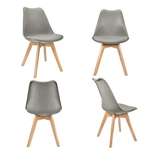 VADIM Grey Set di 4 sedie da pranzo Tulip Sedia da ufficio in plastica retrò Soggiorno Cucina in legno