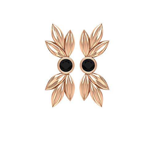 Pendientes Helix Cartílago, 2,50 mm Onyx Negro Solitario Pendientes, Oro Flor Pendientes (Calidad AAA) 10K Oro rosa, Par