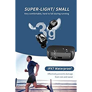 True Wireless Earbuds Bluetooth 5.0, with Charging Case 2200 mAH 80H Playtime, Bass Stereo Bluetooth Earbuds, IPX7 Waterproof, Touch Control, Built-in Mic, Wireless Earphones for Driving/Work/Sports