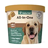 NaturVet All-in-One Dog Supplement - for Joint Support, Digestion, Skin, Coat Care – Dog Vitamins, Minerals, Omega-3, 6, 9 – Wheat-Free Supplements for Dogs–60 Soft Chews