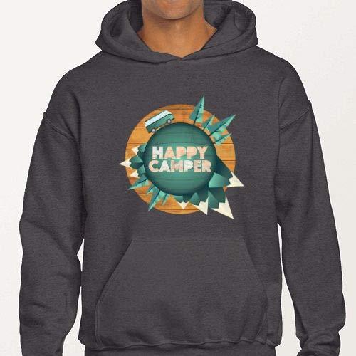 Positivos Sudaderas Capucha Happy Camper - Acampada y Furgoneta Camper - S