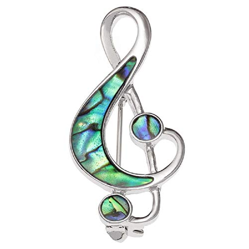 Brooch Lapel Pin Inlaid With Sustainable Ethically Sourced Abalone Shell Silver Plated Jewellery For Women Girls Gift Boxed (Treble Clef Music Note Brooch - Abalone Shell)