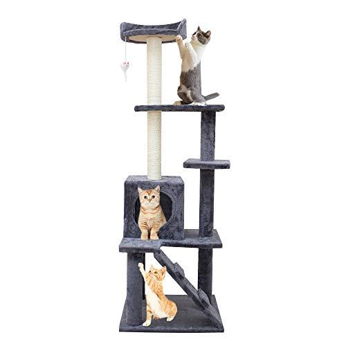 KORIMEFA Árbol para Gatos rascador para Gatos de 140 cm de Altura, árbol para Gatos con Perchas, rascador para Gatitos de Natural Sisal