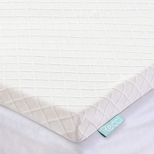 RECCI Topper Memory Foam 6cm, Topper Materasso per Alleviare Pressione, Coprimaterasso con Rivestimento Ipoallergenico in Bamboo - Rimovibile e Lavabile, CertiPUR-EU (120x190x6cm)