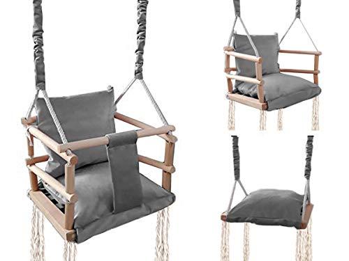 ISO TRADE Babyschaukel Kinderschaukel Holz Stoff Babysitz Baby Schaukel zum Aufhängen 3 in 1 Rosa Grau 8336 , Farbe:Grau