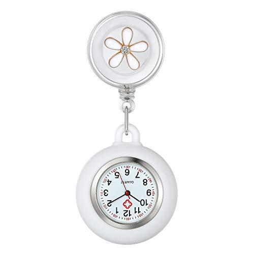 Reloj de Enfermera, Clip de Reloj de enfermería retráctil con Clip, Reloj de Bolsillo retráctil en Silicona con Forma de Flor, Regalo de San Valentín