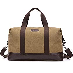 79d89aa2090  2  Classic Canvas Leather Duffel Bag Weekender Overnight Bag Carry on  Travel Tote