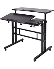Soges Adjustable Stand up Desk 31.5inches Computer Mobile Desk Workstation with Standing and Seating