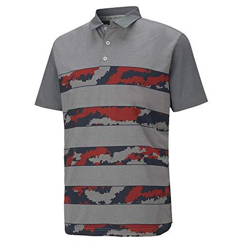 PUMA Golf Men's Mattr Volition Ghillie Polo, Quiet Shade Heather-High Risk Red, Large
