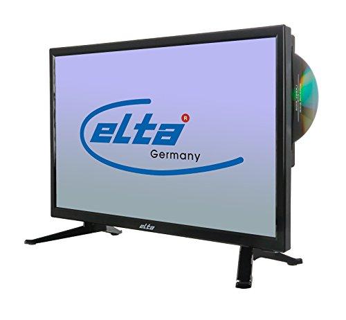 Elta LED HD Ready Fernseher 18,5 Zoll (47CM) mit integriertem DVD Player, Triple Tuner für Kabel- und Satellitenempfang (DVB-T2, DVB-C, DVB-S2) und 12 Volt Anschluss über mitgeliefertes Netzteil