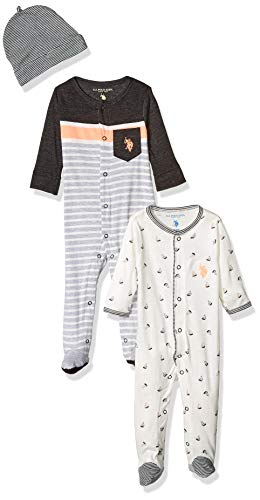 U.S. Polo Assn. Baby Boy's Footie Pants, Pack Footed Sleep Play with Cap Sailboat Allover Print, 18M
