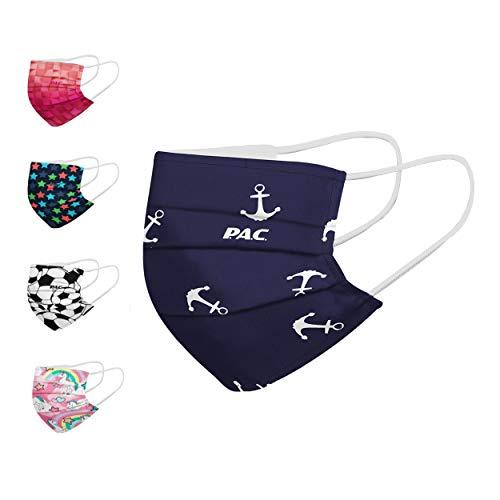 P.A.C. Kids Premium Community-Maske, Mund- & Nasenmaske, Behelfsmaske, Alltagsmaske, Waschbar bis 90°, Einfach aufziehen, Nasenbügel und Filtertasche, OEKO-TEX 100, Wiederverwendbar