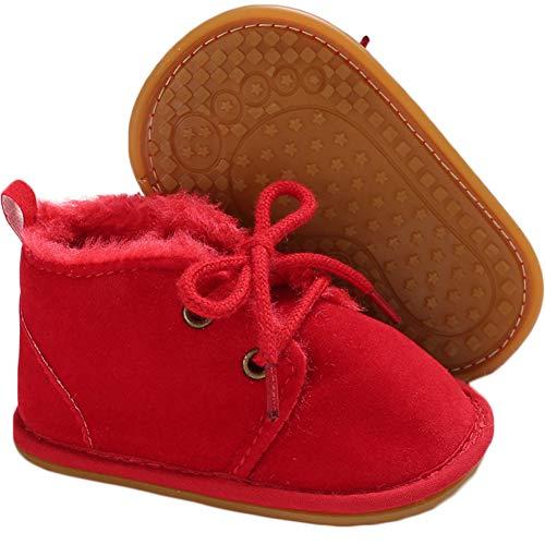 Fnnetiana Multicolor Unisex Baby Warm Non-Slip Soft Sole Boots Infant Prewalker Nursling Snow Shoes(6-12 Months,Red)