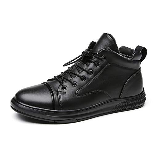 Autopeck Herren Leder Schuhe Schnürstiefel Winterschuhe Warme Gefütterte Oxford Niedrige Absätze für Freizeit Business Fahren Schwarz 38-47 EU