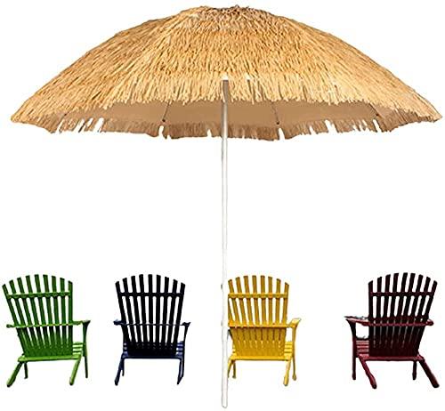 hanzeni Paraguas de Paja para Patio Tiki Paraguas de Paja al Aire Libre A Prueba de Viento y Lluvia Paraguas de jardín para Patio Fuerte Durabl para césped de Playa Paraguas al Aire Libre