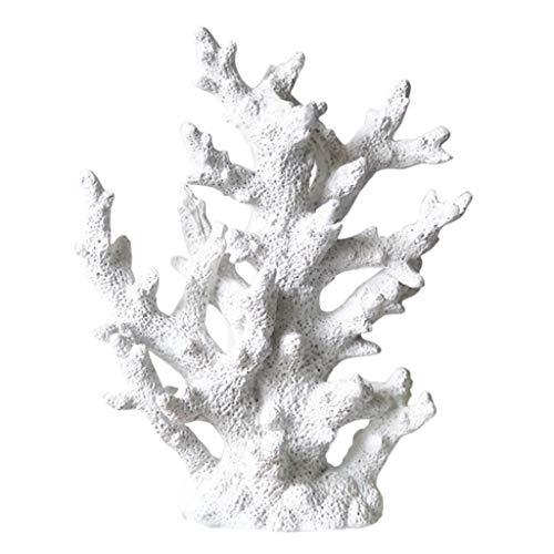 IPOTCH Silicona Coral Acuario Decoración Artificial Planta Coralina Submarino - Blanco
