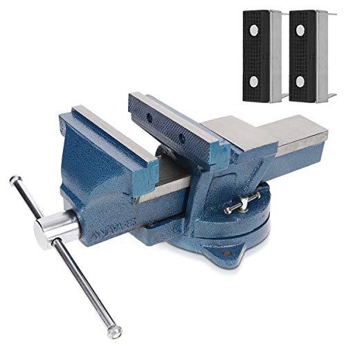 Navaris Tornillo de banco - Torno para mesa de trabajo de hierro fundido - Tornillo giratorio o fijo con mordazas blandas - Ancho de 150MM