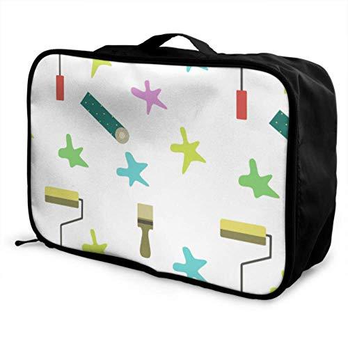 Custom Carry Duffel Bag Lightweight Cute Fashion Cartoon Roller Brush Best Travel Duffel Bag Foldable Portable Storage Luggage Bag With Trolley Sleeve