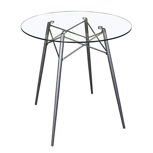 B&D home - Esstisch rund D80x76 cm | Runder Glastisch | Metallgestell dunkelgrau