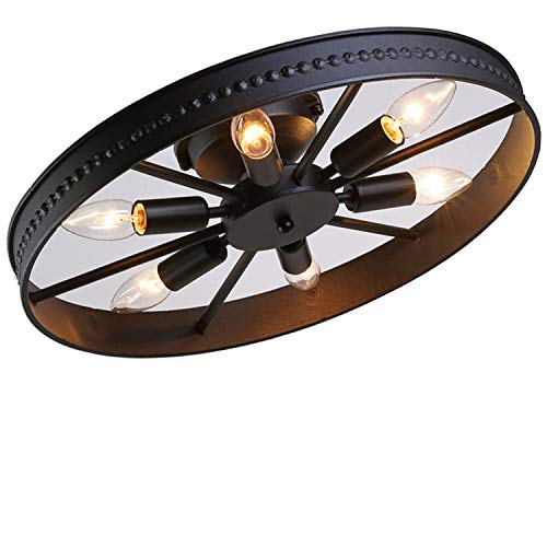 Retro Rad Deckenleuchte Vintage Runde Deckenlampe Antik Industry Ring Design Kreative Decorative Deckenstrahler Eisen Lampeschirm Deckenbeleuchtung für Wohnzimmer Bar Cafe 6*E14 Ø46cm, Schwarz