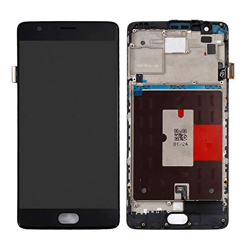 TheCoolCube Replacement for LCD Display Touch Screen Digitizer New Assembly Compatible with One Plus OnePlus 1+ 3T A3010 5.5' (Black w/Frame)
