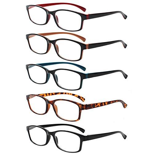 5 Pack Lesebrille Herren Damen,Hochwertig Federscharniere Brillen Komfortabel Rechteckig Super Lesehilfe fur Manner und Frauen (5 Farbe Mischen, 3.0)