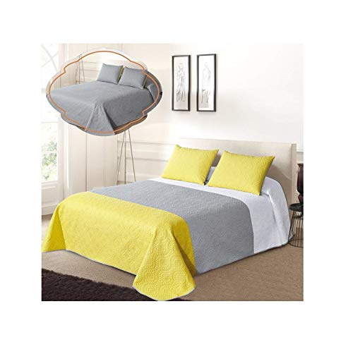 All American Collection New 3pc Solid Three Color Combination Reversible Bedspread Set (Full/Queen Size, White/Grey/Yellow)
