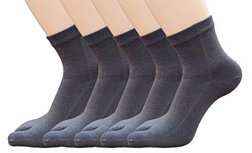 Urban GoCo (Pack de 5 pares Calcetines de Algodón Transpirable de Flip Flop Tabi Toe Calcetines Antideslizantes para Adulto (39-42, F)