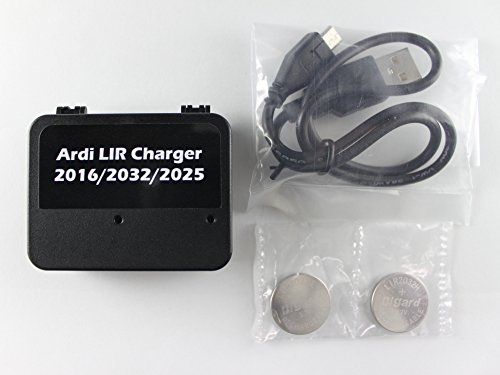 USB Coin Cell Battery Charger for LIR 2032/2016/2025 with 2X LIR2032 3.7V Rechargeable Batteries Included - Replaces CR2032