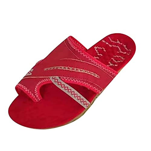 Yuanjay Women Summer Flat Shoes Large Size Print Slip on Sandals Non-Slip Quick Drying Open Toe Slides Slippers Red 41