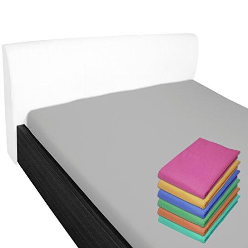 Nurtextil24 Bettlaken 100% Baumwolle 28 Farben und 4 Größen ohne Gummizug Grau 150 x 240 cm