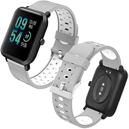Th-some Correa para Amazfit Bip Impermeable Universal - Reemplazo de Pulsera Ajustable para Xiaomi Huami Amazfit Bip bit Lite Youth/Amazfit GTR 42mm Watch, Gris y Blanco Sin Tracker