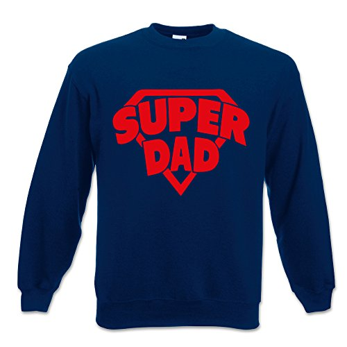 Babloo Felpa Uomo Idea Regalo per Il Papa  Super Dad Blu XL Girocollo