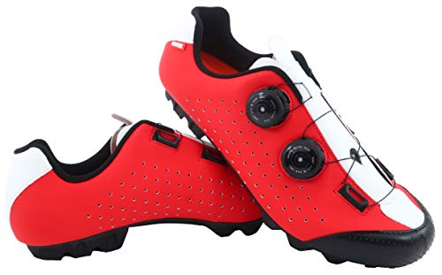 LUCK Zapatilla de Ciclismo MTB Eros con Doble Cierre rotativo de Alta precisión. (45 EU, Rojo)