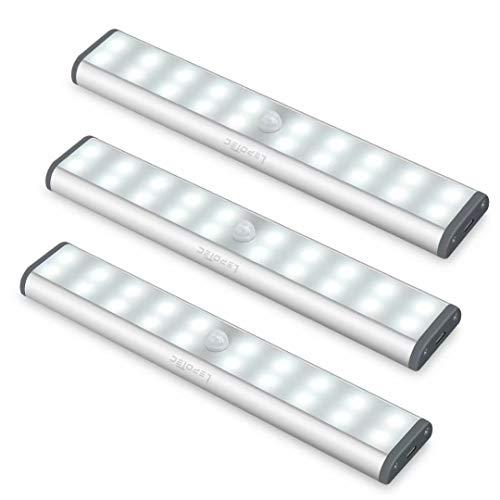 LED Under Cabinet Lighting,Closet Lights Motion Sensor Light Rechargeable Under Cabinet Lights Wireless 20 LED Kitchen Cabinet Lights Under Counter Lighting Magnetic Closet Lighting (3Pack)