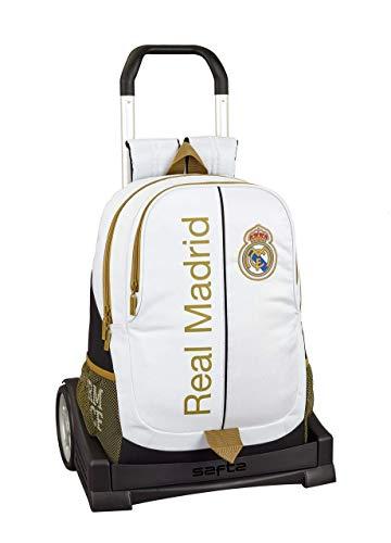 Real Madrid CF Mochila con Carro Ruedas Evolution  Trolley Equipaje para niños  Blanco