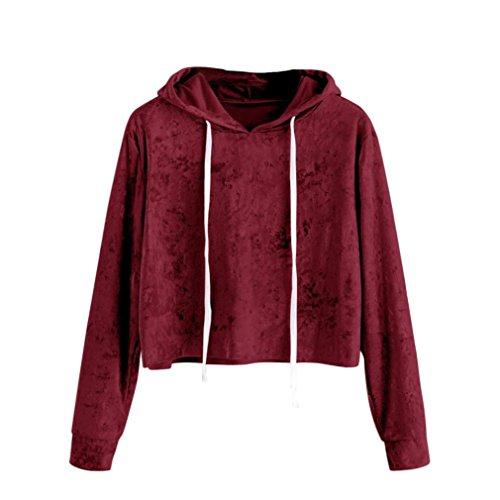 ESAILQ Damen T Shirt Damen Sommer Bluse Damen Weste Tank Top Crop Lose Blusen Große Größe Mode 2018(XL,Wein)