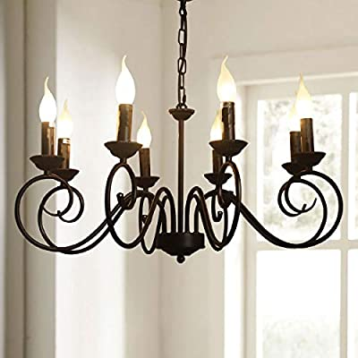Jaycomey Vintage Chandelier Lighting,Iron Hanging Lighting Fixtures,French Country Chandelier for Living Room Bedroom Farmhouse,8 x E12 Candelabra Base