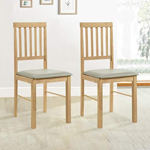 GOLDFAN 2er Set Stuhl Holz Esszimmerstühle Küchenstuhl mit Stuhlkissen Natur Massivholz 42x46x90cm
