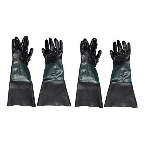 2 Paar 600mm Lang PVC Sandstrahlhandschuhe Handschuhe für Sandstrahlkabine und Teichpflege mit Baumwolle gefüttert