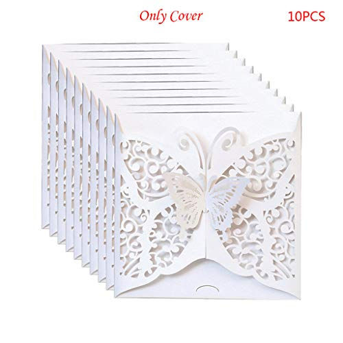 Wuweiwei12 10-teiliges Set mit lasergeschnittenen Schmetterlingen, Hochzeitseinladungen, Karten Papier und Cover für Hochzeiten, Geburtstag, Abend-Party, Dekoration. 02
