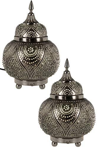 2er Set Orientalische Messing Tischlampe Lampe Farhana 28cm Silber | Marokkanische Tischlampen Lampenschirm silberfarben | kleine Nachttischlampe modern für Vintage Retro & Landhaus Stil Design